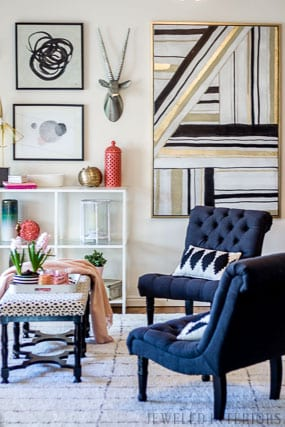 jeweled interiors, preppy glam living room, black, white, blush, dalmation print, morrocan rug
