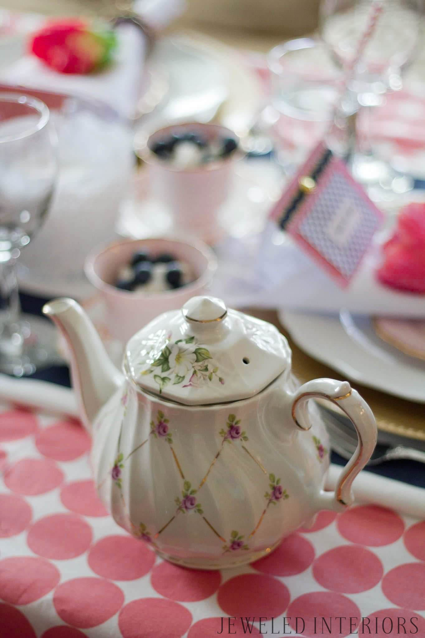 Kate Spade Vintage inspired tea party jeweled interiors