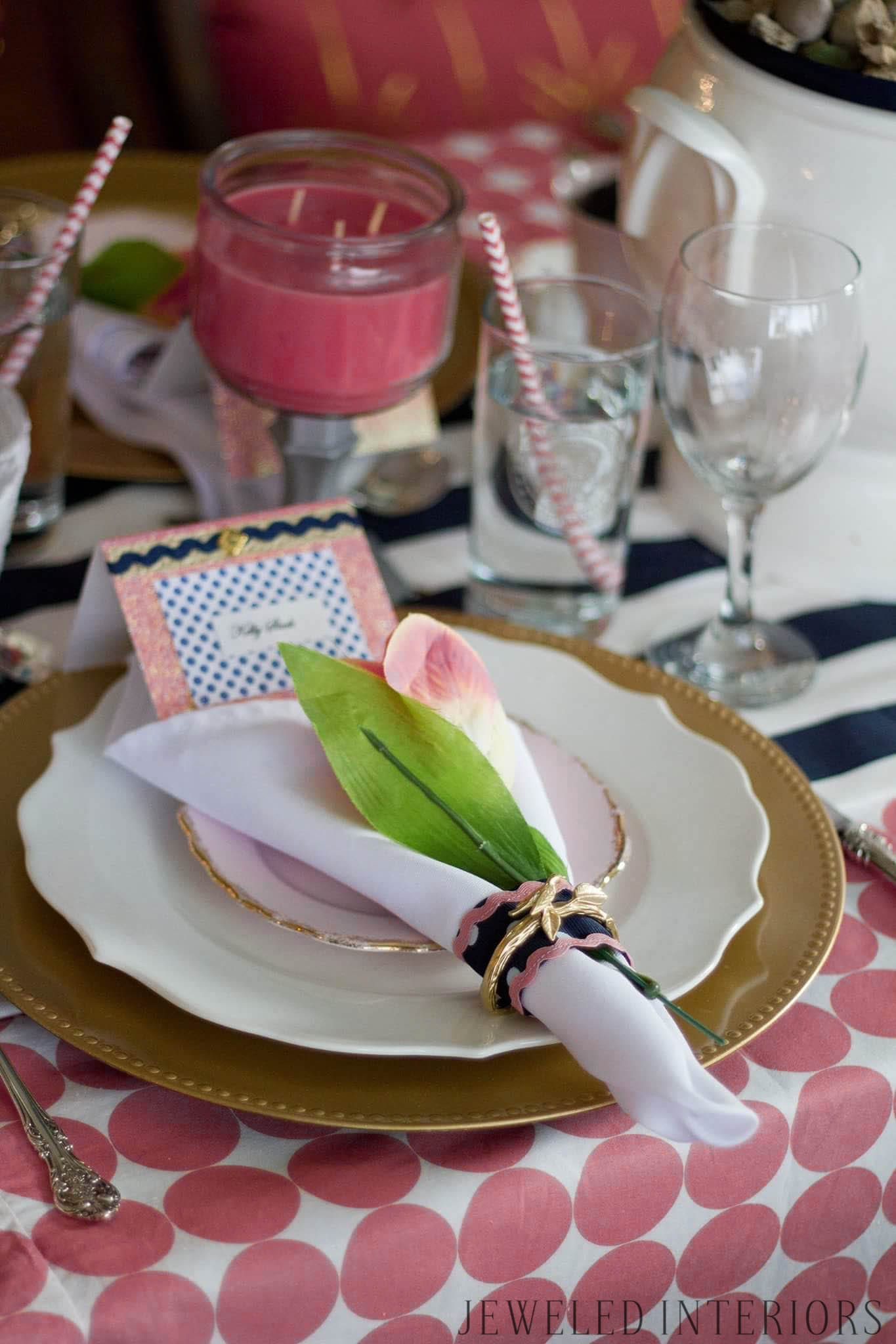 Kate Spade inspired Tea Party, Jeweled Interiors, gold, bird, silver, pink, gold, charger, navy, polka dot,