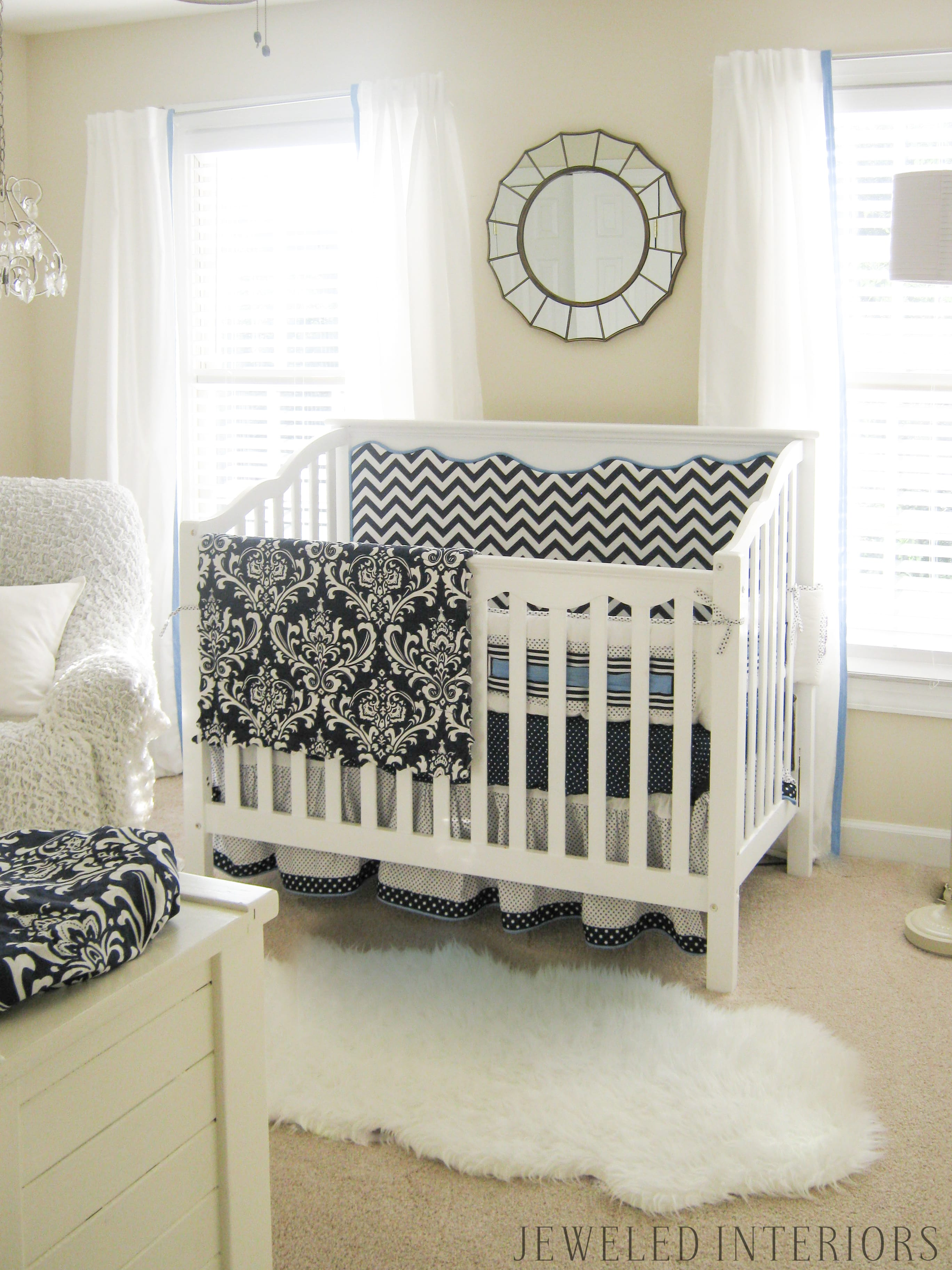 3 Tips for Combining a little boy and little girl's bedroom: Jeweledinteriors, jeweledinteriors, bedroom, bed, crib, toddler, british, union, jack, french, twins, rug, chandelier, dresser, chair, DIY, functional, unisex, sheepskin