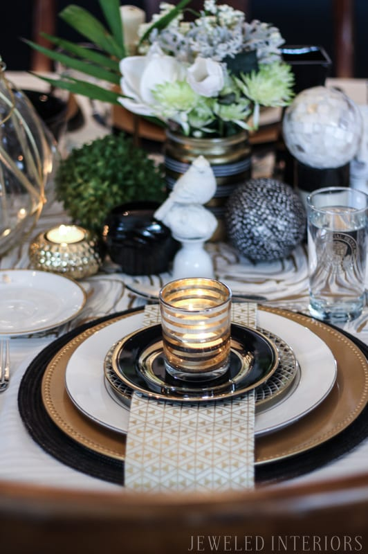 formal, hosting, rug, chairs, table, dinner, lunch, art, LDS, Temple, antique, mirror, chandelir, gold, stencil, dining room, formal, party, blue, white, china, silver, centerpiece, gold, bird, flowers, navy, shelfie, shelf, antique, obama, photo, napkin, candle
