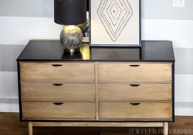 Benjamin Moore, Black, beauty, 2128-10, paint, minwax, early american, driftwood, finishing wax, paste, citristrip, handles, spray paint, rustic, mid century, modern, MCM, make-over, before, after, inspiration, tutorial, DIY, craigslist, dresser, desk, sideboard, buffet, lamp, mirror, redo, refinish