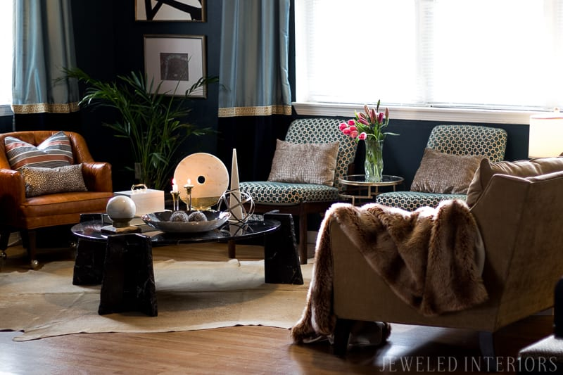Jeweled interiors living room reveal, coffee table,  Check out Jeweled Interiors DIY Art, Before, jeweledinteriors.com, living room, tv, hide, reveal, military housing, after, taupe, navy, marble, black, white, obelisk, jeweled, interiors, box, velvet, cowhide, fur, throw, faux, gold, bronze, brass, lucite, harwood floors, pillows, leopard, sofa, couch, chair, beautiful,  curtains, teal, greek key, yellow, camel, leather, button, tufted, castors, antique, map, italian, lamps, hunter, mid  century, eclectic