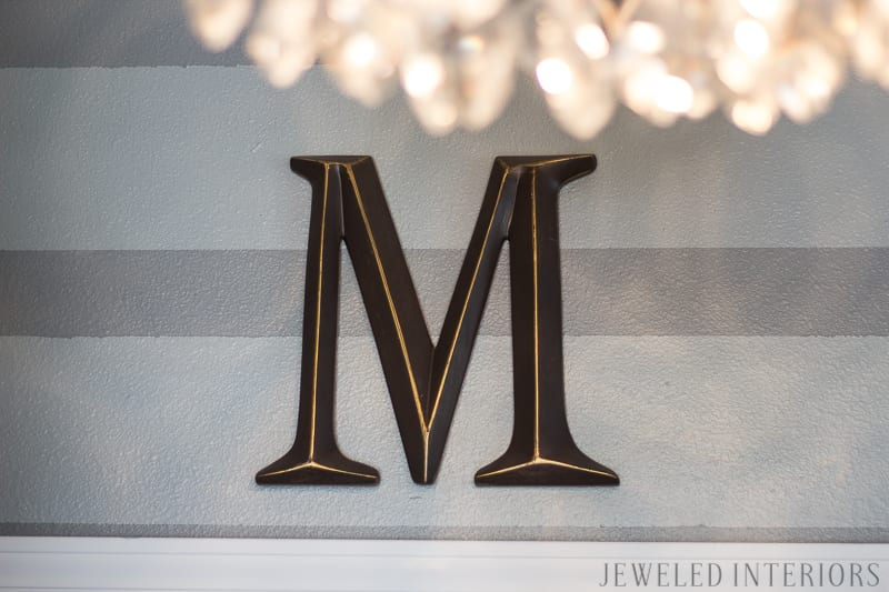 Monogram, Crystal chandelier, tear drop, mid century, before, after, entryway, entry, way, jeweled interiors, jeweledinteriors.com, Dwell Studio, Ming Dragon, Aquatint, beautiful, stunning, stripe, sheep, skin, sheepskin,  gray, grey, kudu, horn, fiddle leaf, gold, black, lamp, DIY, art, stool, stools, garden, leopard, spoon mirror,  vintage, antique, ecclectic