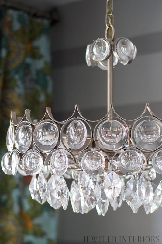 Crystal chandelier, tear drop, mid century, before, after, entryway, entry, way, jeweled interiors, jeweledinteriors.com, Dwell Studio, Ming Dragon, Aquatint, beautiful, stunning, stripe, sheep, skin, sheepskin,  gray, grey, kudu, horn, fiddle leaf, gold, black, lamp, DIY, art, stool, stools, garden, leopard, spoon mirror,  vintage, antique, ecclectic