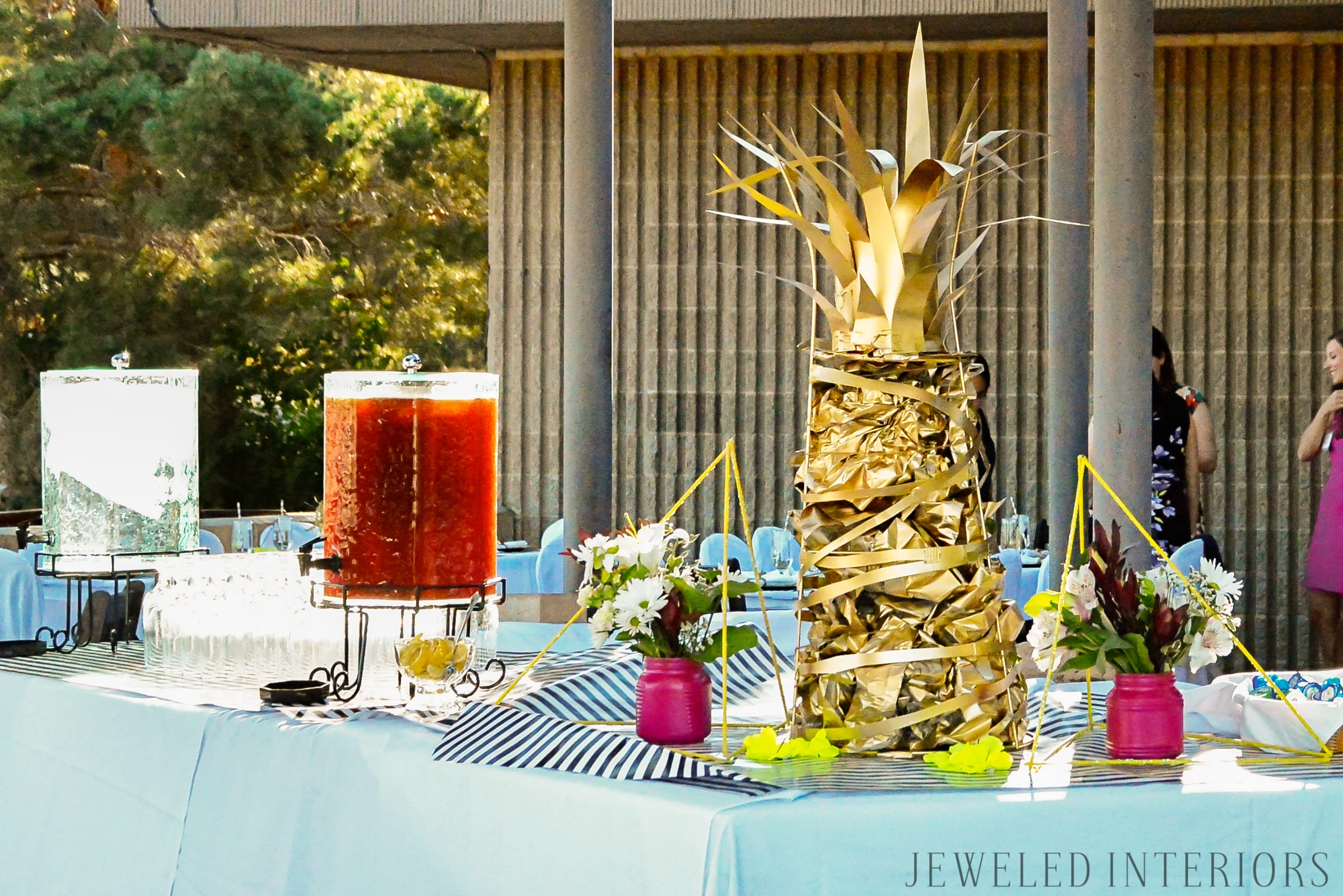 5 steps to a beautiful buffet table|| Jeweledinteriors.com, gold pineapple, Kate spade, black, white, striped, Hawaiian, pineapple, florescent, party, event