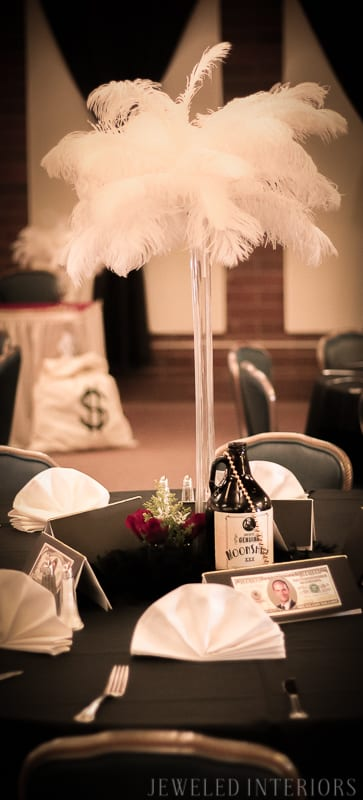 Need Centerpiece ideas for your Roaring 1920's Party?  Check this out!   halloween, dress-up, costume, speakeasy, speak, easy, sequins, bar, tommy gun, cigars, flapper, prohibition, charity,  fundraiser, fund, raiser, money, auction, OSC, OCSC, Officers', Gatsby Spouses', club, military, scholarships, feather, ostrich, boa, fringe
