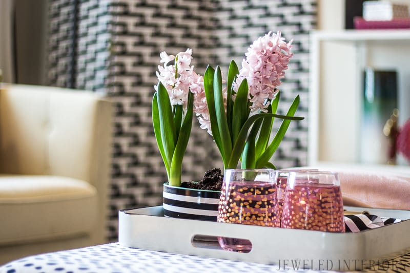 Chic, glam, eclectic, decor, decorate, lamp, ikea, black, white, pink, blush, coral, gold, brass, gallery, wall, pillow, settee, sofa, chair, rug, shelf, style, beautiful, dalmatain, coffee, table, tulip, stripe, milo, baugman, chalk paint, end table, button tuft, charcoal, linen, light, airy, how to, diy, dining room, living room, entry way, military, home, rental, base house, cherry blossoms, friend, love,