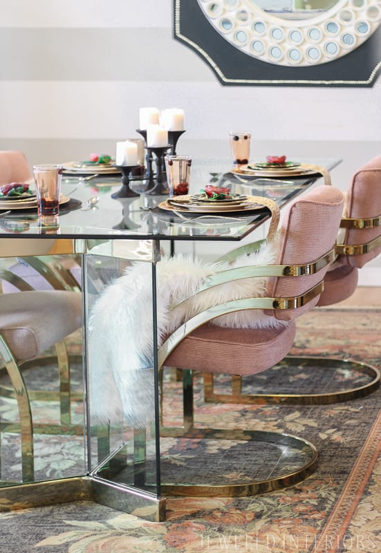 Milo, Baughman, chairs, thrifted, craigslist, jeweledinteriors, glass, table, brass, millenial, pink, blush, formal, glam, chic, dining room, luncheon, dinner, party, moody, floral, rug, centerpiece, floral, stripes, DIY,  before, after, make-over, reveal, redecorate, 80's table, chairs, vintage rug, wool