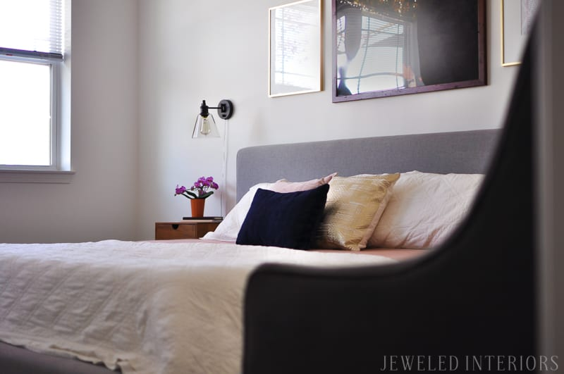 Welcome to a Boho/MCM Dream bedroom! Check out these ideas to make your bedroom meaningful, and simply beautiful || Bohemain | Mid- Century Modern| Mid| Century| Modern| West Elm | World Market| Target| IKEA| Live Edge| Brass| Eames| White| Black| Gray|Art| Frames| Project 62 |Amazon |Craig Frames | engineer print | wedding | Mod | Upholstered | Platform | bed | Mirror | sweater blanket | Mongstad | clean lines| peaceful | retreat
