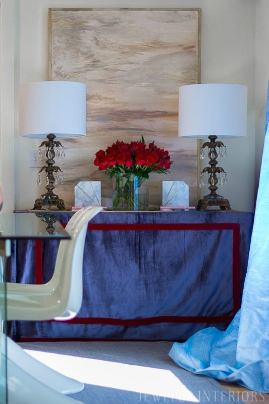 jeweled interiors, jeweledinteriors.com, dining room, blush, romantic, burgundy, red, navy, blue, velvet, silk, curtains, dresser, glass, table, brass, pantone, chairs, rug, diy, art, crystal, lamps, marble, books, blue, powder, make over, shade