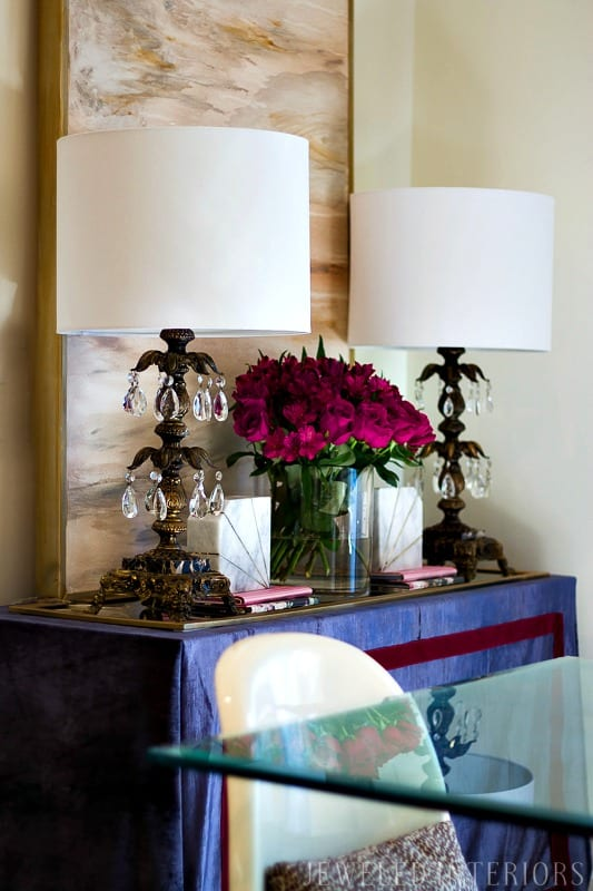 You've go to see this dining room makeover|| jeweled interiors, jeweledinteriors.com, dining room, blush, romantic, burgundy, red, navy, blue, velvet, silk, curtains, dresser, glass, table, brass, pantone, chairs, rug, diy, art, crystal, lamps, marble, books, blue, powder, make over, shade, One Room Challenge, ORC