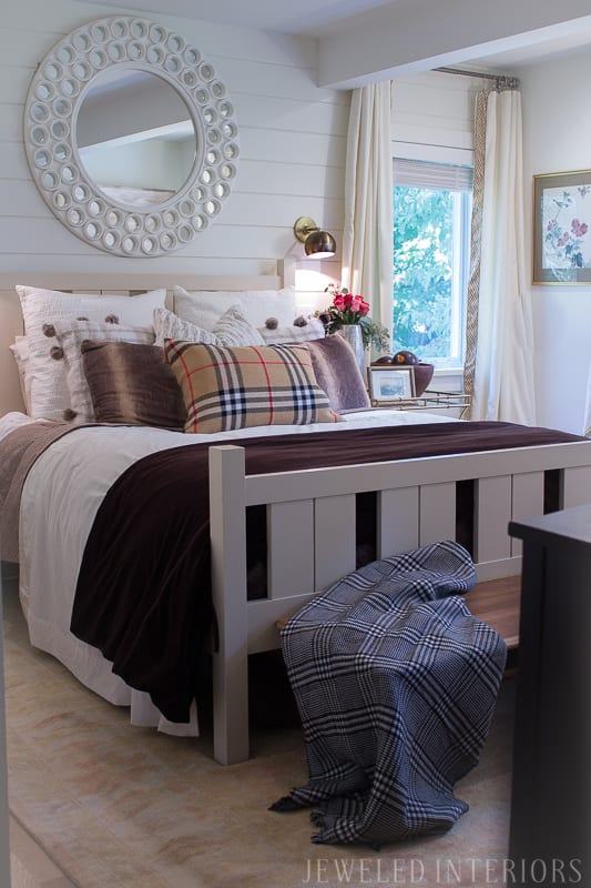 Looking for easy updates to your bedroom for the Fall and Winter? CHECK THIS OUT! mirror, bench, faux, fur, pillow, throw, blanket, lighting, sconce, lamp, milo, baughman, burberry, pillow, pillows, bedroom, winter, fall, seasonal, wayfair, target, west elm, mid centure, pottery barn, hayneedle,