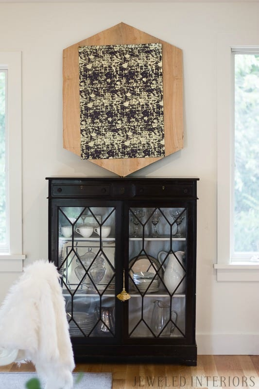 Learn how to make this easy and inexpensive DIY ART! DIY, ART, Tutorial, Abstract, Modern, 3-D, 3D, Navy, gold, frame, step by step, miter, jig, jeweledinteriors,jeweled interiors, ORC, One Room Challenge,