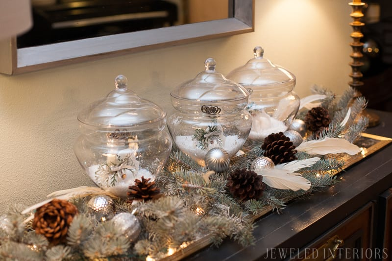 YOU HAVE TO SEE THIS NATURE INSPIRED HOLIDAY PARTY! || rustic, glam, jeweledinteriors, buffet table, party, holiday, Christmas, party, home, tour, back drop, dessert, table, chic, rustic, silver, gold, antlers, pinecones, tablescape,  white, ivory, sequin, tablecloth, birch, buffet table