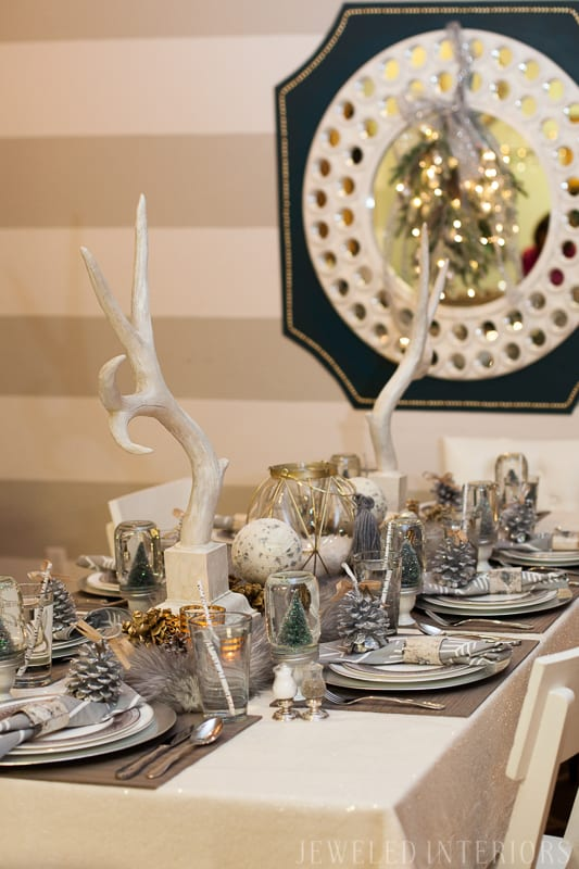5 steps to setting up a display table || Jeweledinteriors.com, buffet, table, party, holiday, event, drink, appetizer,  rustic, chic, Christmas, tree,  wallpaper, backdrop, napkin, pinecone