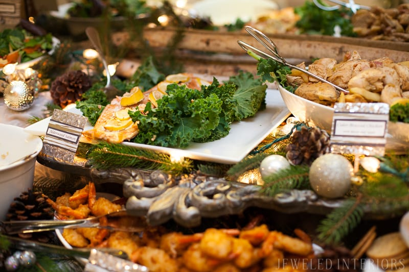 YOU HAVE TO SEE THIS NATURE INSPIRED HOLIDAY PARTY! || rustic, glam,  jeweledinteriors, buffet table, party, holiday, Christmas, party, home, tour, back drop, dessert, table, chic, rustic, silver, gold,  salmon, appetizers food