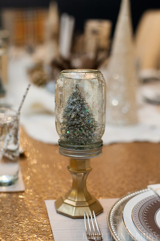YOU HAVE TO SEE THIS NATURE INSPIRED HOLIDAY PARTY! || jeweledinteriors, buffet table, party, holiday, Christmas, party, home, tour, back drop, dessert, table, chic, rustic, silver, gold, antlers, pinecones, tablescape,  white, ivory, sequin, tablecloth, birch, snow globe