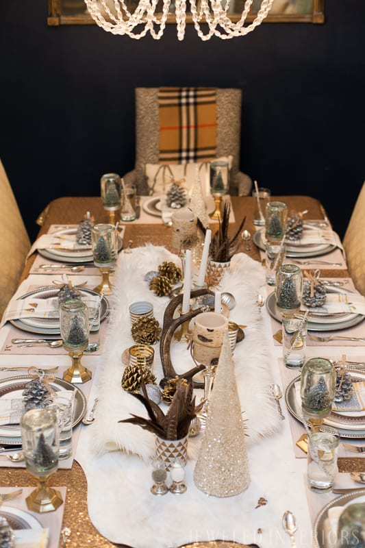 YOU HAVE TO SEE THIS NATURE INSPIRED HOLIDAY PARTY! || rustic, glam, jeweledinteriors, buffet table, party, holiday, Christmas, party, home, tour, back drop, dessert, table, chic, rustic, silver, gold, antlers, pinecones, tablescape,  white, ivory, sequin, tablecloth, birch, snow globe