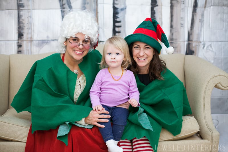 CHECK OUT THESE HOLIDAY PHOTO BOOTH IDEAS! || jeweledinteriors, Christmas, holiday, Photo, Booth, backdrop, pictures, photography, photographer, sofa, aspen, tree, diy, painted, Mrs. Claus, Elf