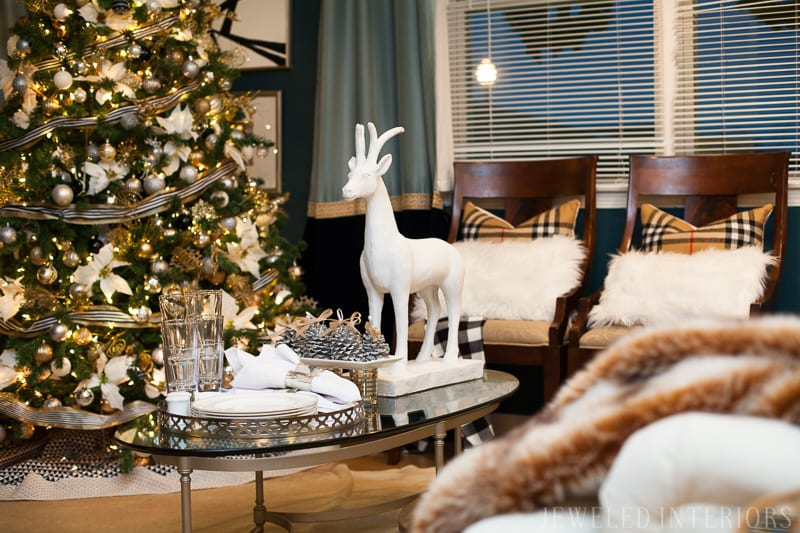 YOU HAVE TO SEE THIS NATURE INSPIRED HOLIDAY PARTY! || jeweledinteriors, buffet table, party, holiday, Christmas, party, home, tour, back drop, dessert, table, chic, rustic, silver, gold, antlers, pinecones, tablescape,  white, ivory, navy, black, white, reindeer, coffee table, tree, ornament
