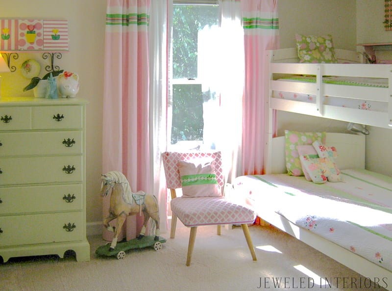 Little Girl's bedroom, jeweled interiors, pink, green, bedding, rocking horse, curtains, desk, polka dots