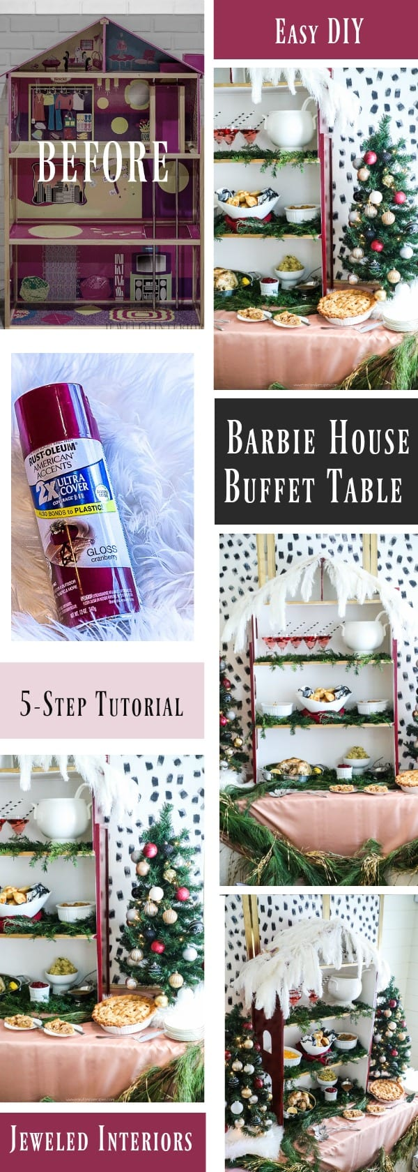 How to make a holiday buffet table from a Barbie house! 5 simple DIY tips to Christmas party greatness!     Holiday, Christmas, buffet, jeweledinteriors, Burgundy, Dalmatian, party, black and white, ideas, DIY, tutorial,  pink, gold, dinner
