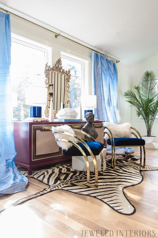 You've got to see this One Room Challenge Make-overs || antique mirror, Jeweledinteriors, One Room Challenge, ORC, parisian, apartment, rental, diy, zebra, milo baughman, navy, velvet, silk, curtains, brass, gold, chic, hardwood floors, antique, mirror, eclectic, kelly wearstler, pillow, kate spade, lamp, powder blue, obelisk, victorian, 1980's, vintage, living room, chic, roman bust, statue