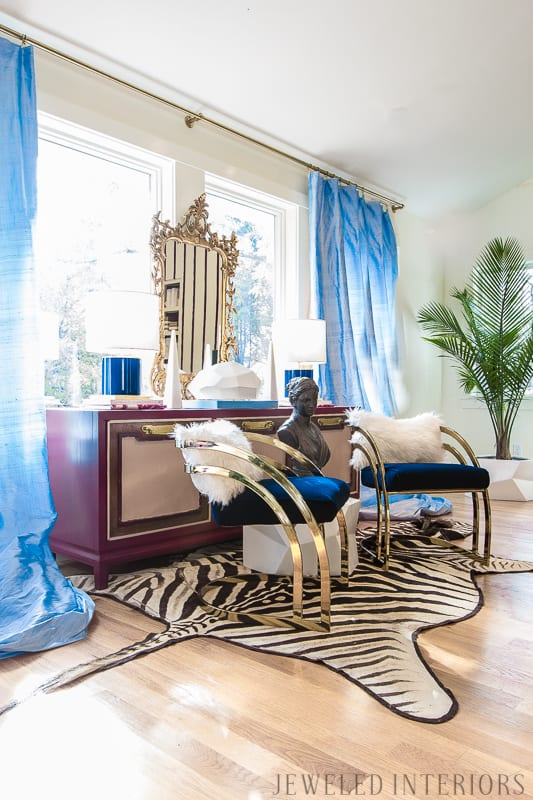 You've got to see this One Room Challenge Make-overs || Jeweledinteriors, Antique mirror, One Room Challenge, ORC, parisian, apartment, rental, diy, zebra, milo baughman, navy, velvet, silk, curtains, brass, gold, chic, hardwood floors, antique, mirror, eclectic, kelly wearstler, pillow, kate spade, lamp, powder blue, obelisk, victorian, 1980's, vintage, living room, chic