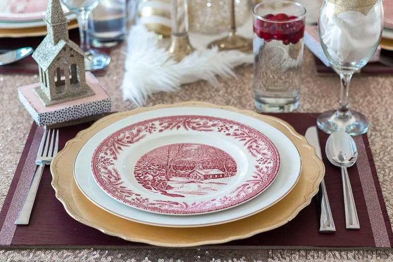 Looking for inspiration for Christmas tablescape decor?  You have got to see this! Jeweled Interiors Holiday Home Tour 2017 | Burgundy   Blush Christmas Decor Ideas and Tips ⋆ Jeweled interiors, wreaths, Christmas, holiday, tree, decor, decorations, stockings, ideas, DIY, inspiration, burgundy, blush, red, maroon, wine, home, dining room, cranberries, glam, chic, peach,  gold, black, white, ornaments, dalmation print, ribbon, champaign, houses, sequin, tablecloth, burliegh, william-sonoma, placesetting, tablescape,