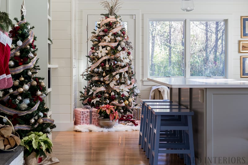 Looking for inspiration for Christmas Tree inspiration?  You have got to see this || Jeweled Interiors, Holiday, Home Tour, Burgundy, wine, Blush, Christmas, Decor, decoration, Ideas, Tips,  Christmas, holiday, tree,  pink, DIY, inspiration, red, maroon, ostrich feathers, poinsettia, glam, chic, peach, gold, black, white