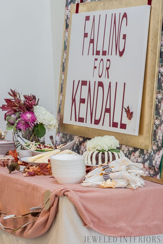 You have got to check out this baby shower!  Autumn, fall, theme, themed, sprinkle, baby, shower, buffet, girl, recipes, decorations, moody, florals, blush, burgundy, moody, floral, leaves