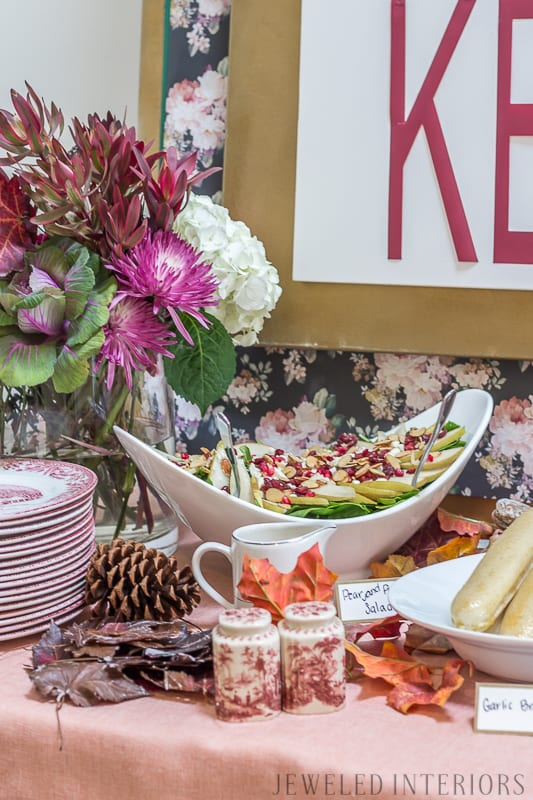 Want to throw a sophisticated baby shower? You have got to check out this baby shower!  Autumn, fall, theme, themed, sprinkle, baby, shower, buffet, girl, recipes, decorations, moody, florals, blush, burgundy, moody, floral, leaves