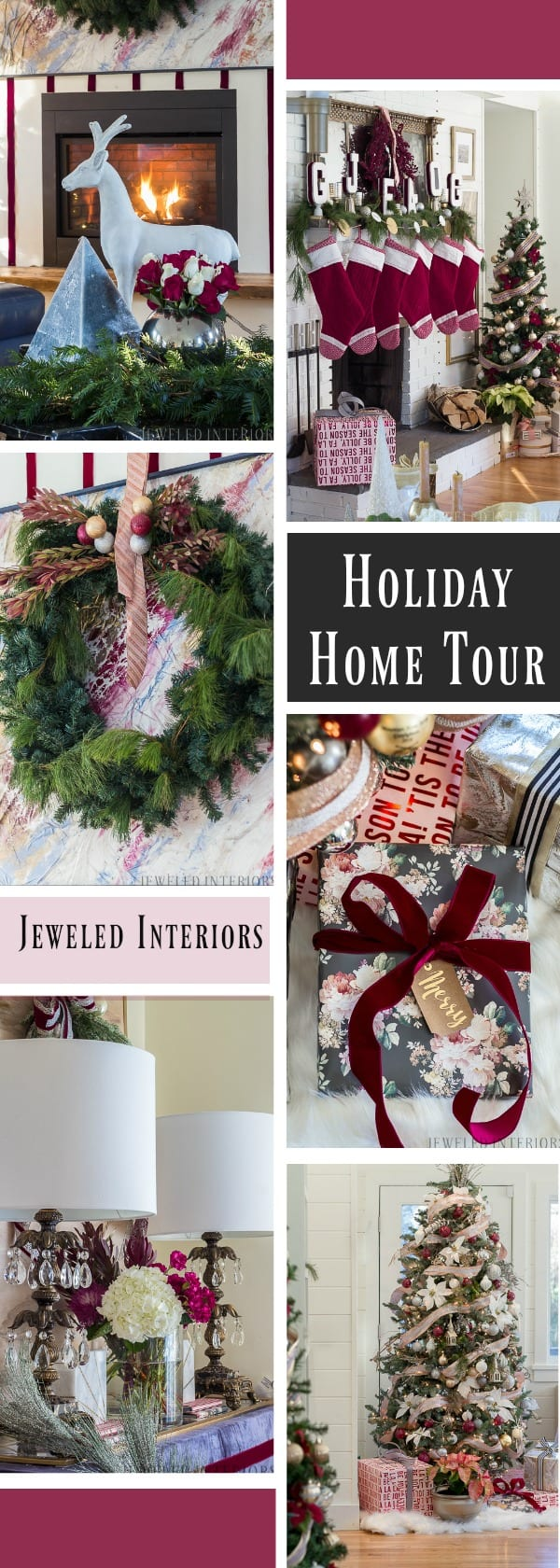 Looking for inspiration for Christmas decor? You have got to see this! Jeweled Interiors Holiday Home Tour 2017 | Burgundy Blush Christmas Decor Ideas and Tips ⋆ Jeweled interiors, wreaths, Christmas, holiday, tree, decor, decorations, built-ins, coffee table, ideas, DIY, inspiration, burgundy, blush, red, maroon, wine, home, living room, pointsettieas, glam, chic, peach, gold, black, white, ornaments, dalmation print, ribbon, roses, velvet, DIY, art