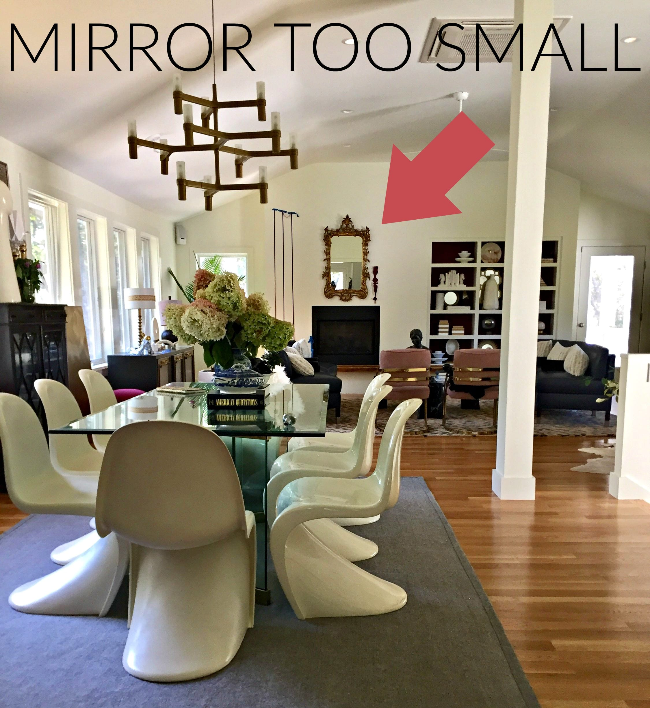 You've got to see this One Room Challenge Make-overs ||antique mirror,  Jeweledinteriors, One Room Challenge, ORC, parisian, apartment, rental, diy, zebra, milo baughman, navy, velvet, silk, curtains, brass, gold, chic, hardwood floors, antique, mirror, eclectic, kelly wearstler, pillow, kate spade, lamp, powder blue, obelisk, victorian, 1980's, vintage, living room, chic, panton, chair, great room