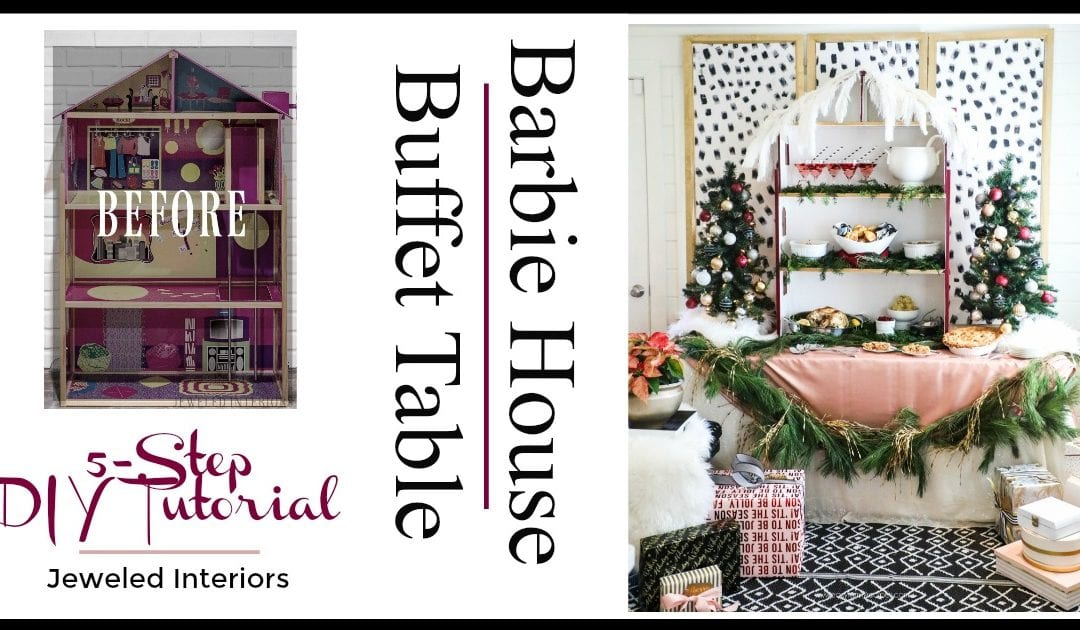 How to make a holiday buffet table from a Barbie house! 5 simple DIY tips to Christmas party greatness! || Holiday, Christmas, buffet, jeweledinteriors, Burgundy, Dalmatian, party, black and white, ideas, DIY, tutorial, pink, gold, dinner