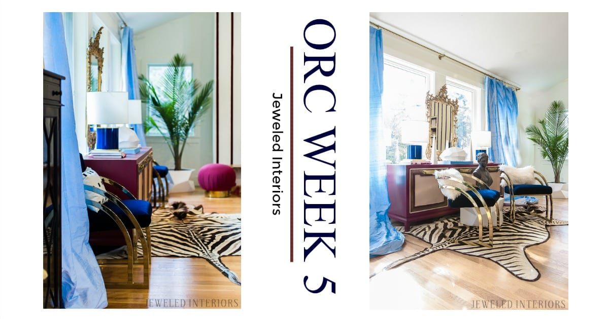 You've got to see this One Room Challenge Make-overs || Jeweledinteriors, One Room Challenge, ORC, parisian, apartment, rental, diy, zebra, rug, hide, milo baughman, navy, velvet, silk, curtains, brass, gold, chic, hardwood floors, antique, mirror, eclectic, kelly wearstler, pillow, kate spade, lamp, powder blue, obelisk, victorian, 1980's, vintage, living room, chic, roman bust, antique mirror,  statue