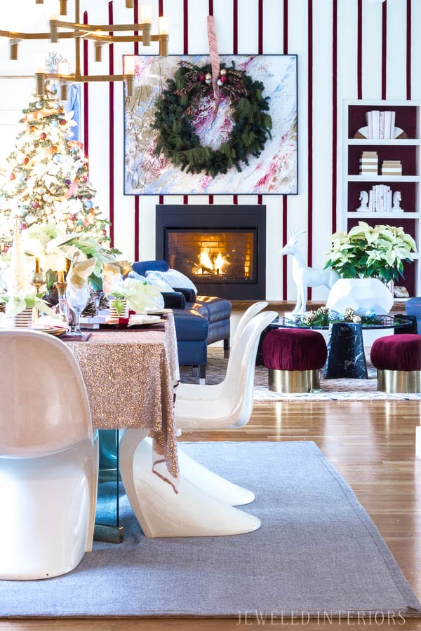 HOLIDAY HOME TOUR REVEAL || HOLIDAY COFFEE TABLE DECOR || Looking for inspiration for an eclectic, chic, and glam Christmas? Jeweled Interiors, Holiday, Home Tour, Burgundy, cranberry, blush, Decor, Ideas, Tips, black, marble, Christmas, tree, decor, decorations, DIY, inspiration, red, maroon, wine, home tour, poinsettia, glam, chic, peach, gold, black, white, statue, reindeer