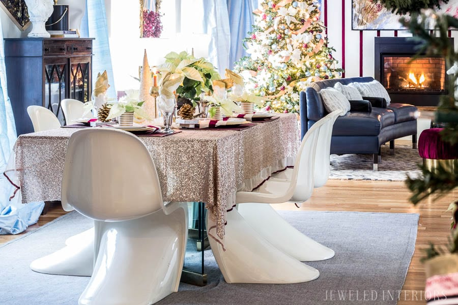 I learned so much from this 8 step tutorial on how to set a pretty tablescape! || Jeweledinteriors, jeweled interiors, party, planning, dinner, brunch, banquet, table, setting, centerpiece, placemats, napkin, rings, flowers, candles, vintage, dollar store, beautiful, sequin, sheepskin, texture
