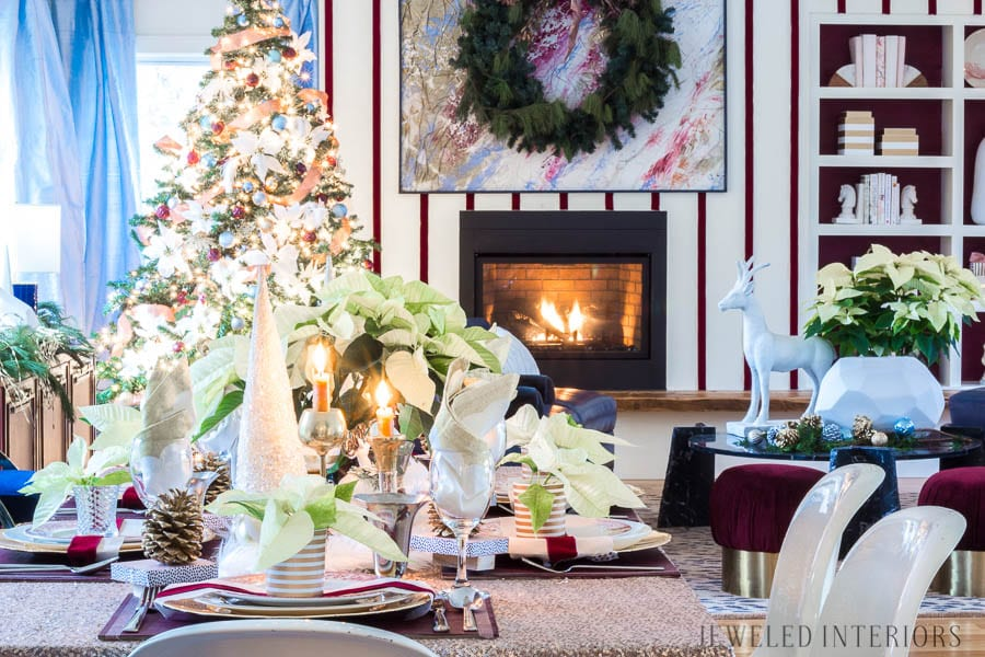 Looking for inspiration for a eclectic, chic, an glam Christmas? You have got to see this! Jeweled Interiors, Holiday, Home Tour, Burgundy, cranberry, blush, Christmas, Decor, Ideas, Tips, wreaths, Christmas, tree, decor, decorations, DIY, inspiration, red, maroon, wine, home tour, poinsettia, glam, chic, peach, gold, black, white