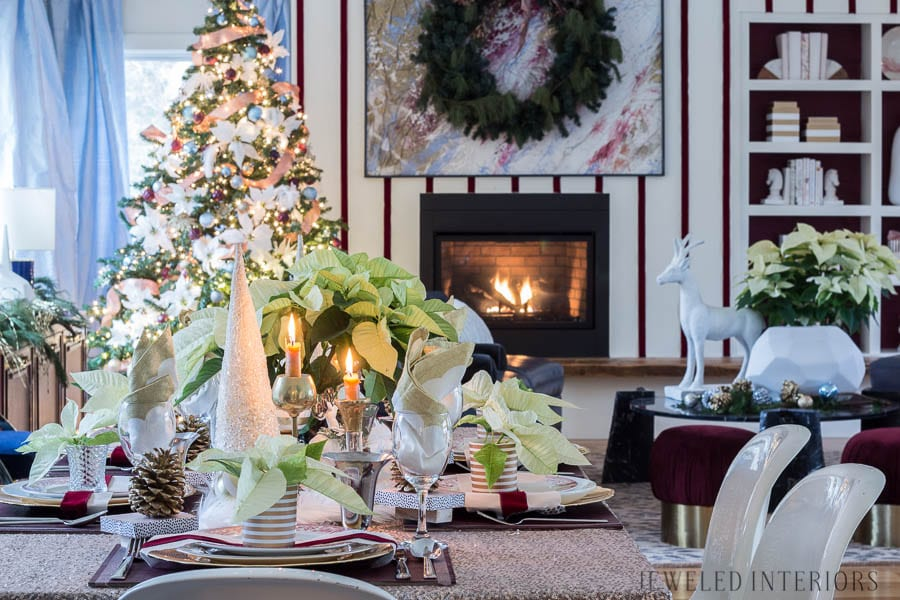 Jeweled Interiors Eclectic Holiday Home Tour 2017 | Romantically Chic + Christmas Poinsettia