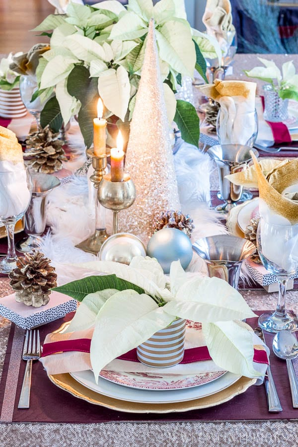 I learned so much from this 8 step tutorial on how to set a pretty tablescape!    Jeweledinteriors, jeweled interiors, party, planning, dinner, brunch, banquet, table, setting, centerpiece, placemats, napkin, rings, flowers, candles, vintage, dollar store, beautiful, sequin, sheepskin, texture
