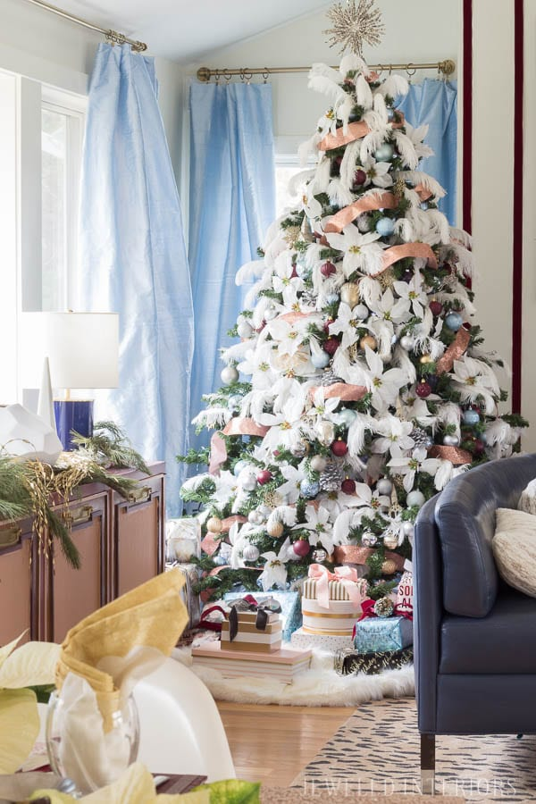 Looking for inspiration for Christmas Tree inspiration?  You have got to see this || Jeweled Interiors, Holiday, Home Tour, Burgundy, wine, Blush, Christmas, Decor, decoration, Ideas, Tips,  Christmas, holiday, tree,  pink, DIY, inspiration, red, maroon, ostrich feathers, poinsettia, glam, chic, peach, gold, black, white , eclectic, chic,  romantic