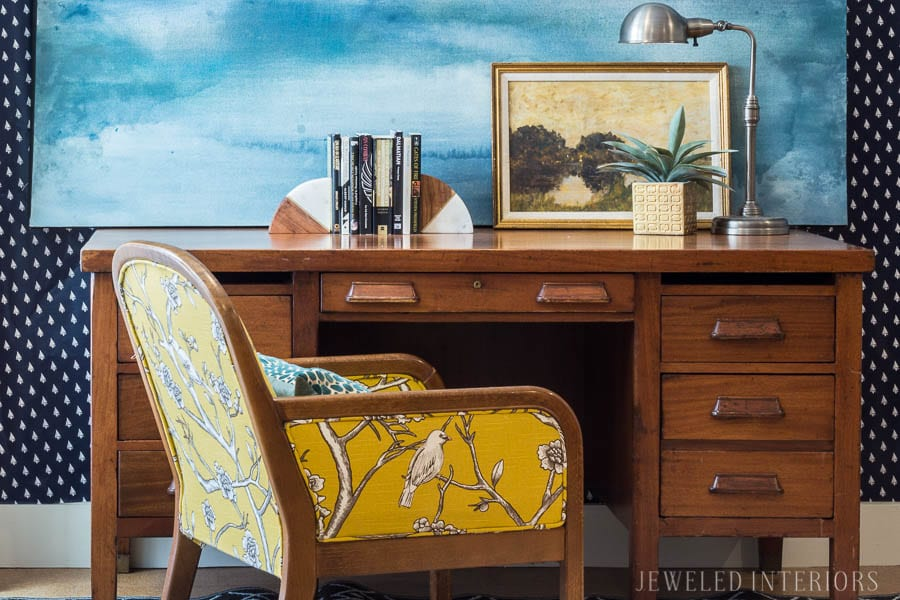 One Mid Century Modern Desk Styled Two Ways: Part 2     Gathered and Eclectic Desk