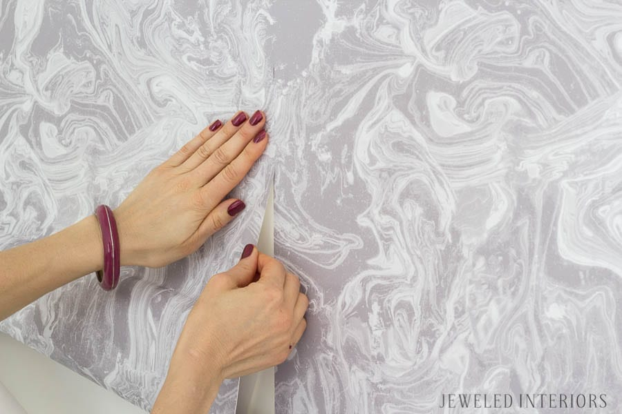Check out how what a difference removable wallpaper makes in a room || jeweled interiors, temper, Tokyo, ash, removable, wallpaper, Tempaper Installation, tween, teen, girl, room, lavender, purple, marble, before, after, reveal, how to, tips,