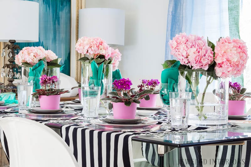 Jeweled Interiors | Spring Tablescape // A Fresh Mix of Stripes and Happy Colors