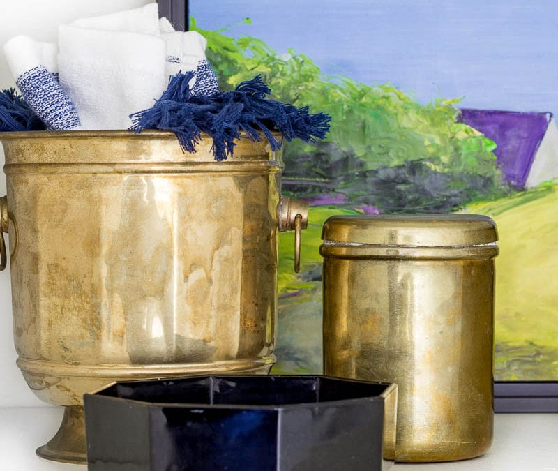 The Purple Bathroom Primp and Pamper Updates   Week 3   Tips for Styling Open Shelving