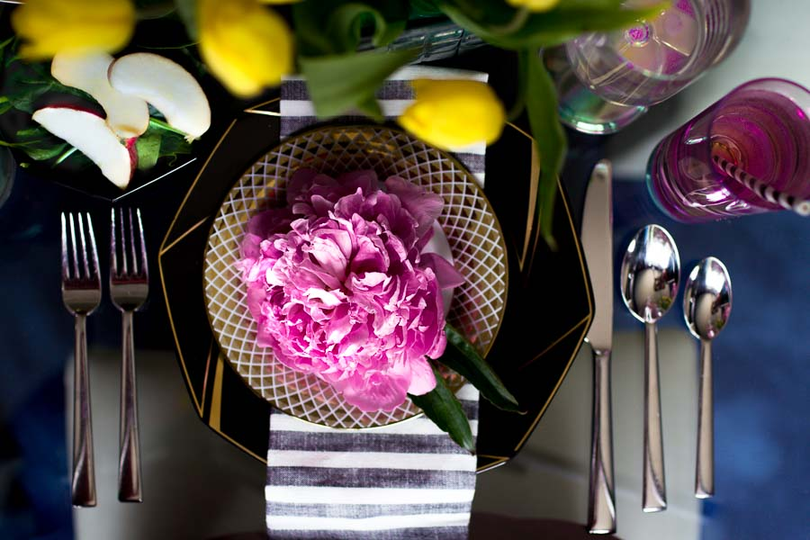 Centerpiece ideas, peonies, tulips, pink, yellow, party, formal, entertaining, beautiful, table setting, dinner party