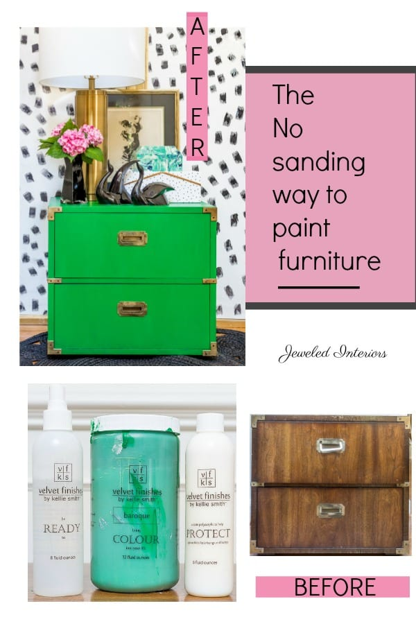 Velvet Finishes, paint, no sand, so sanding, furniture refinishing, Kelly green, paint, tutorial, color, protect, ready, campaign dresser, emerald, emerald green, campaign, high gloss, end table, Dalmatian print, black and white, green, dresser, night stand