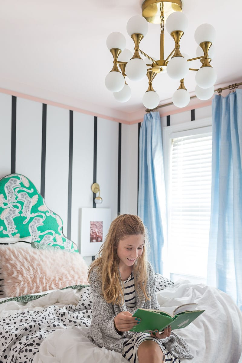 You have to see this amazing before and after transformation! Green, Emerald Headboard, Headboard Ideas, Custom headboard, upholstered headboard, color splash blog hop, Spoonflower fabric, striped walls, Roostery Sheets, Tempaper Mini stripes, Silk Curtains, Parisians bedroom, girl's bedroom, Teenager bedroom, tween bedroom, girl's room, palm leaf sheets, WYANDOTTE DUVET COVER, inky bits, Luxe Palm Leaf, Tropicana jaguar, lamps plus Possini, Euro, Andre